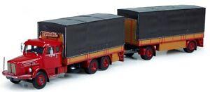 TEK71083 - Camion 6x2 porteur bachée SCANIA Vabis LS80avec remorque aux couleurs