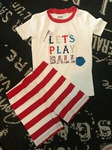2 Pc GYMBOREE Boys 7 Red PJ Short Top SET Lets Play Ball SLEEP Sport BASEBALL