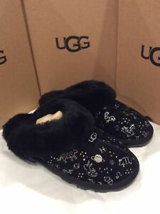 NIB UGG WOMEN'S SLIPPERS Black Coquette Zodiac Fur Slippers/moccasins size 8