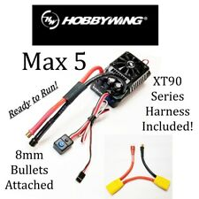HOBBYWING EZRUN MAX 5 8S ESC WITH 8mm Bullets Attached & XT90 Series Harness RTR
