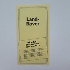 Land Rover Price List Effective from 18th June 1979 Brochure