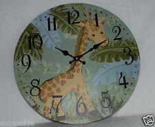 "Kids Room Round Wall Clock Giraffe / Jungle Bedroom Nursery Wall Clock 13.5"""