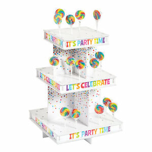 """Birthday Lollipop Treat Stand- Candy Buffet- Party Supplies- 12"""" x 12"""" x 15 3/4"""""""