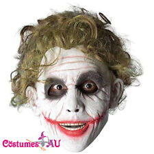 DELUXE MENS JOKER LATEX MASK & HAIR BATMAN VILLAIN HALLOWEEN COSTUME ACCESSORY