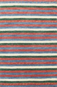 Modern Striped Gabbeh Oriental Area Rug Hand-knotted Contemporary 2'x3' Carpet
