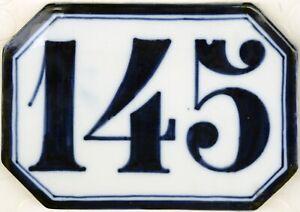 Antique French house number 145 large ceramic porcelain bone china Ginori C19th