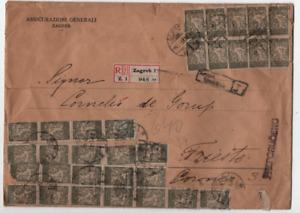 SLOVENIJA ZAGREB 11/2/1921 VERIGARI RARE MULTIPLE USE OF 5 p. ON REGISTRED COVER