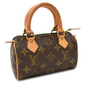 """Painted Leather"" Auth LOUIS VUITTON Monogram Mini Speedy M41534 Hand Bag Brown"