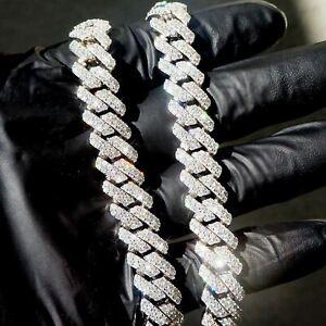 VVS1 Clarity High End Moissanite Straight Edge Cuban Chain Bracelet