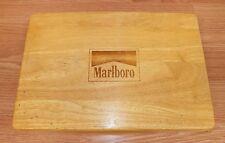Vintage Marlboro Designer Wooden Case with (2) Card Sets & Poker Chips *READ*