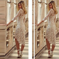 Women Holiday Flower Lace 3/4 Sleeve Bodycon Cocktail Party Irregular Midi Dress