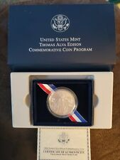 US Mint 2004 Thomas Alva Edison Silver Dollar Commemorative Coin w/Box & COA