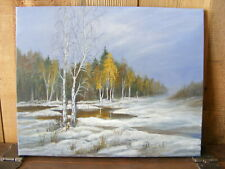 """Winter Landscape"" oil painting handpainted on canvas art, deco, hunting,"