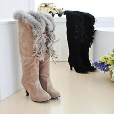 Ladies Plush Knee High Med Heel Boots Winter Warm Comfort Sexy Prom Party Shoes