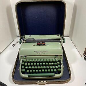Vintage Remington SeaFoam Green Quiet-Riter Manual Typewriter Case & Key