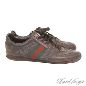 Gucci Made in Italy 233334 Brown Leather Monogram Race Stripe Low Sneakers 11 G