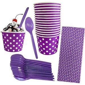16 Pk  Purple Ice Cream Kit - 8 Oz Cups, Spoons, Straws