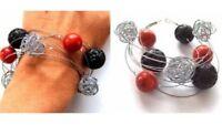Armband Damen Silber 925 Schwarz Rot Geschenk Handarbeit
