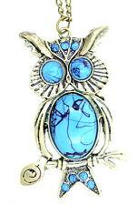 Stile vintage bronzo e TURCHESE COLORATO GUFO Owlet Charm Collana