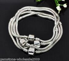 Wholesale 4PCS Lots Chain Snap Clasp Bracelets Fit European Charm Beads 19cm