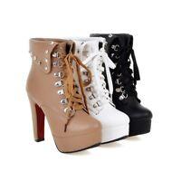 Womens High Heel Lace up Rivets Platform Ankle Boots Shoes AU Plus Size 2--13