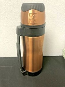 7-Eleven Thermos Stainless Steel Embossed Logo Push Button Lid Handle Mug 7-11