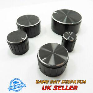 Black Aluminum Sound Control Rotary Switch Knob 6mm Potentiometer Volume Cap