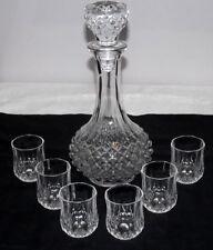 VINTAGE PRESSED GLASS HOBNAIL DECANTER & 6 CRISTAL D'ARQUES SHOT/LIQUEUR GLASSES