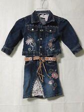 Barbie Ave Jean Jacket Skirt Blue Denim Girls 3T Toddler Snaps & Zip Pre-Owned
