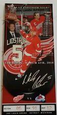 Nicklas Lidstrom Commemorative Retirement Night Ticket Detroit Red Wings