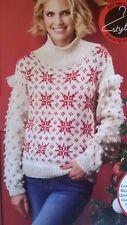 ** Knitting Pattern ** Donna/ragazze Christmas Jumper/maglione ** fiocco di neve * Fair Isle
