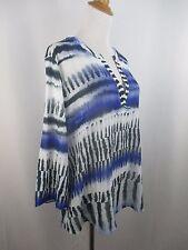 $69 NWT CHICO'S WOMENS PLUS SZ 1 BLUE BLACK WHITE PRINT COMBO FABRIC SHIRT TOP