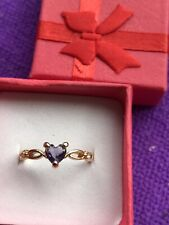 Metal Size L New In Gift Box Pretty Heart Shaped Purple Gem Fashion Ring Gold
