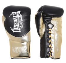 NEW Lonsdale MTK Global 20oz Lace Up L60 Boxing Gloves in Black/Gold