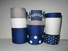 GROSGRAIN NEW YORK YANKEES BASEBALL RIBBON LOT FOR MAKING HAIR BOWS 10 YARDS