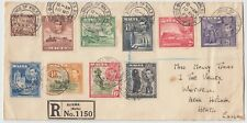 MALTA 1943 multi franked reg cover *SLIEMA-HITCHIN* with PRINCE OF WALES RD cd