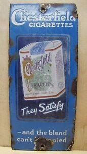 CHESTERFIELD CIGARETTES c1920s Antique Porcelain Door Push Ad Sign Doorpush