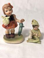 2 Vintg Figurines Small Girl w/Umbrella C7199 Elf Pixie w/Bunny Josef Original