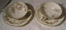 TWO CASTLETON CHINA USA GLORIA PATTERN HANDLED SOUP BOWLS/UNDERPLATES GOLD RIMME