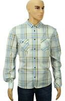 "Diesel Shirt Size XL 22"" ptp Yellow & Blue Check Long Sleeve"