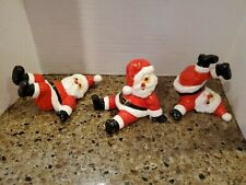 3 Vintage Fitz and Floyd 1976 Japan Tumbling Santa Claus Christmas Figurines