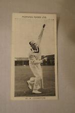 1953 - Vintage - Morning Foods Ltd. - Cricket Card - W.A. Johnston - Victoria.