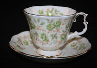 ROYAL ALBERT, ENGLAND ROSE CHINTZ SERIES, GREEN VELVET CUP AND SAUCER