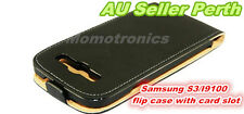 Black SAMSUNG Galaxy S3 i9300 leather flip wallet cover/case with card slots