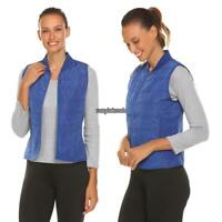Women Casual Sleeveless Solid Super Lightweight Puffer Vest with Pockets RLWH