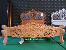 "4'6"" UK Double  Size oriental carved mahogany designer French Rococo bed chester"