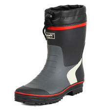 Mens Wader Hunting Fishing Non-slip Wellington Wellies Rain Rubber Long BOOTS 43 Red and Black
