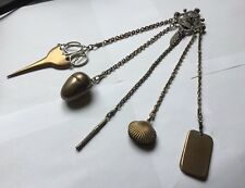 Victorian Edwardian Silver Plated Chatelaine Scissors Thimble Pin Cushion Etc