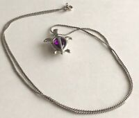 "Vintage Purple Stone Silver Tone Turtle Pendant 3/4"" x 1"" Chain Necklace 24"""
