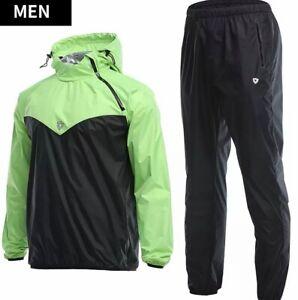 Sauna sports suit for men set hooded luminous slimming running MMA boxing zipper
